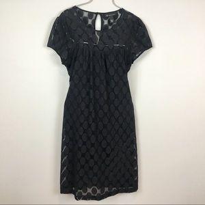 INC little black dress L polka dots black